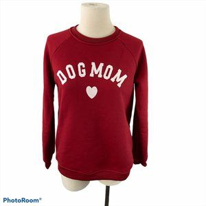 DOG MOM Red Crew Neck Sweater NWOT